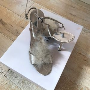 Feathery champagne high heels 6.5